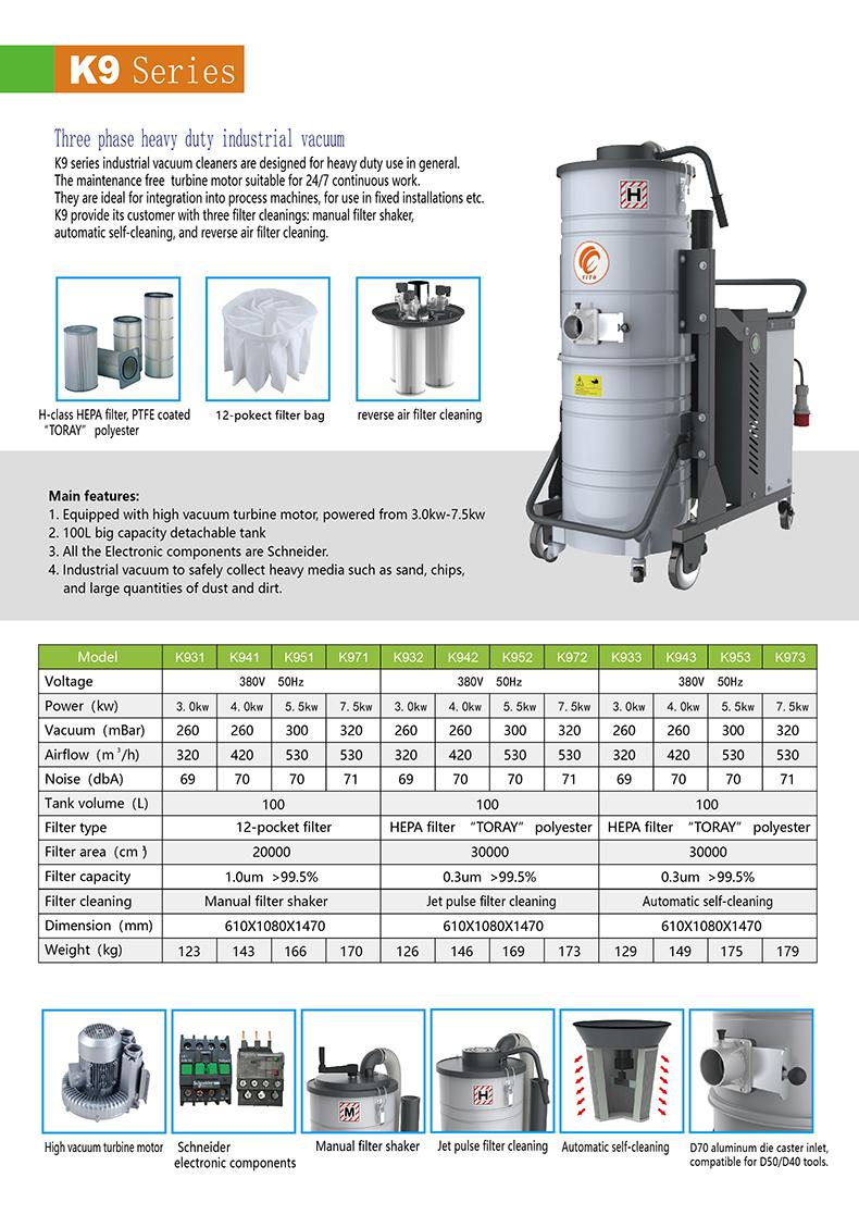 K9 series three phase heavy duty industrial vacuum cleaner